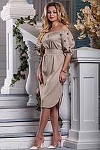 Нарядное платье до колен с поясом прямого кроя светлый кофе, фото 3