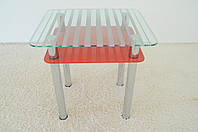 """Стол кухонный стеклянный на хромированных ножках Maxi DT R 730/650 (2) """"полоска"""" красный стекло, хром"""