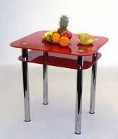 """Стол кухонный стеклянный на хромированных ножках Maxi DT R 730/650 (2) """"красный"""" стекло, хром"""