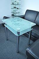 """Стол кухонный стеклянный на хромированных ножках Maxi DT R 800/650 (2) """"рыбка"""" стекло, хром, фото 1"""