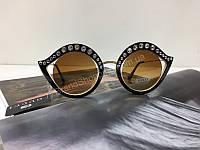 NEW 2018!!Очки солнцезащитные женские Gucci  комбинированные коричневые с бежевым 2024, фото 1