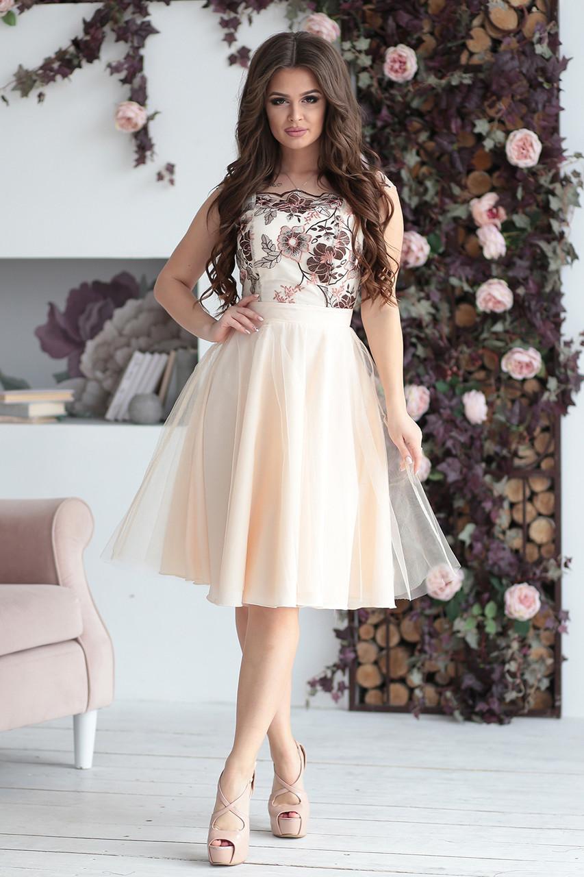 Вечернее Платье Эшли в светло-бежевом цвете