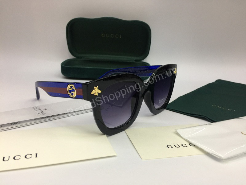 NEW 2018 Очки солнцезащитные Gucci с синими дужками в полном комплекте арт  2052 51cabe50b03