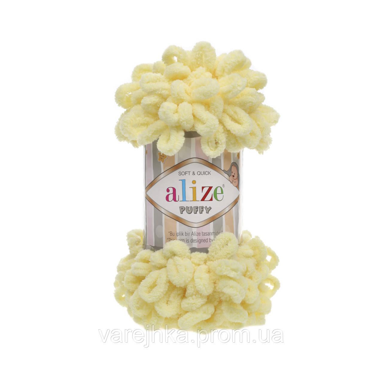 пряжа Alize Puffy 13 лимонный пуффи ализе для вязания без спиц