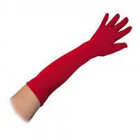 Перчатки эластан длинные красные