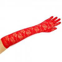 Перчатки гипюровые длинные красные