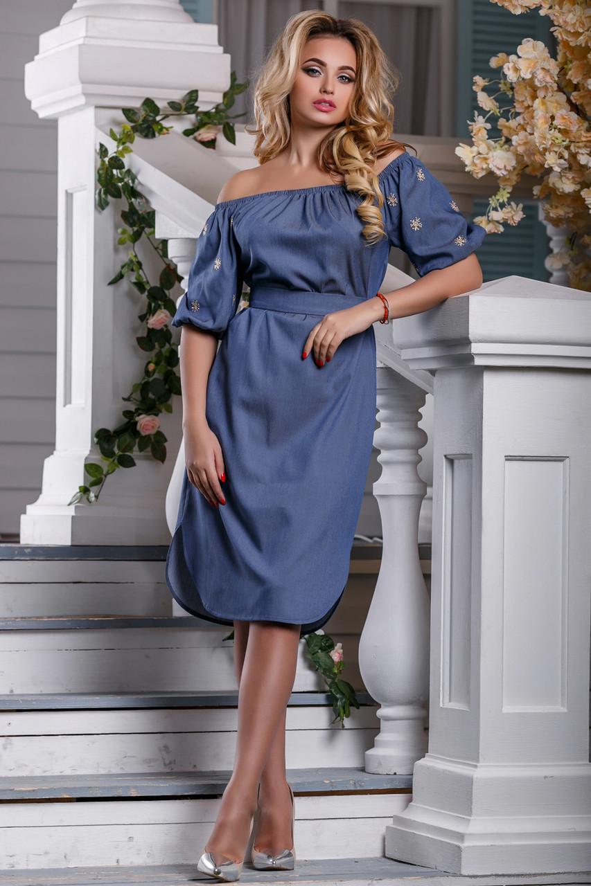 Модное платье лето с открытыми плечами миди свободное под пояс синее