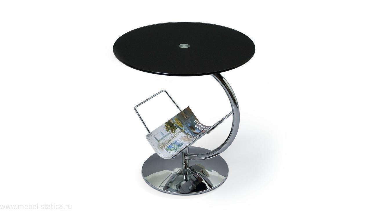Журнальний кофейний стіл зі скла у вітальню Alma чорний Halmar