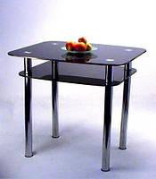 """Стол кухонный стеклянный на хромированных ножках Maxi DT DX 800/680 (2) """"черный"""" стекло, хром"""