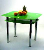 """Стол кухонный стеклянный на хромированных ножках Maxi DT DX 900/800 (2) """"зеленый"""" стекло, хром"""