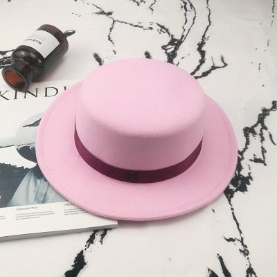Шляпа женская фетровая канотье в стиле Maison Michel розовая