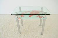 """Стол кухонный Maxi DT R 900/650 (2) """"цветок"""" стекло, хром, фото 1"""
