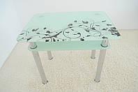 """Стол кухонный стеклянный на хромированных ножках Maxi DT R 900/650 (2) """"белый блюз"""" стекло, хром, фото 1"""