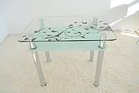 """Стол кухонный Maxi DT R 900/650 (2) """"белый блюз"""" прозрачный стекло, хром, фото 1"""