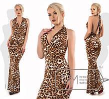 Женское леопардовое платье в пол