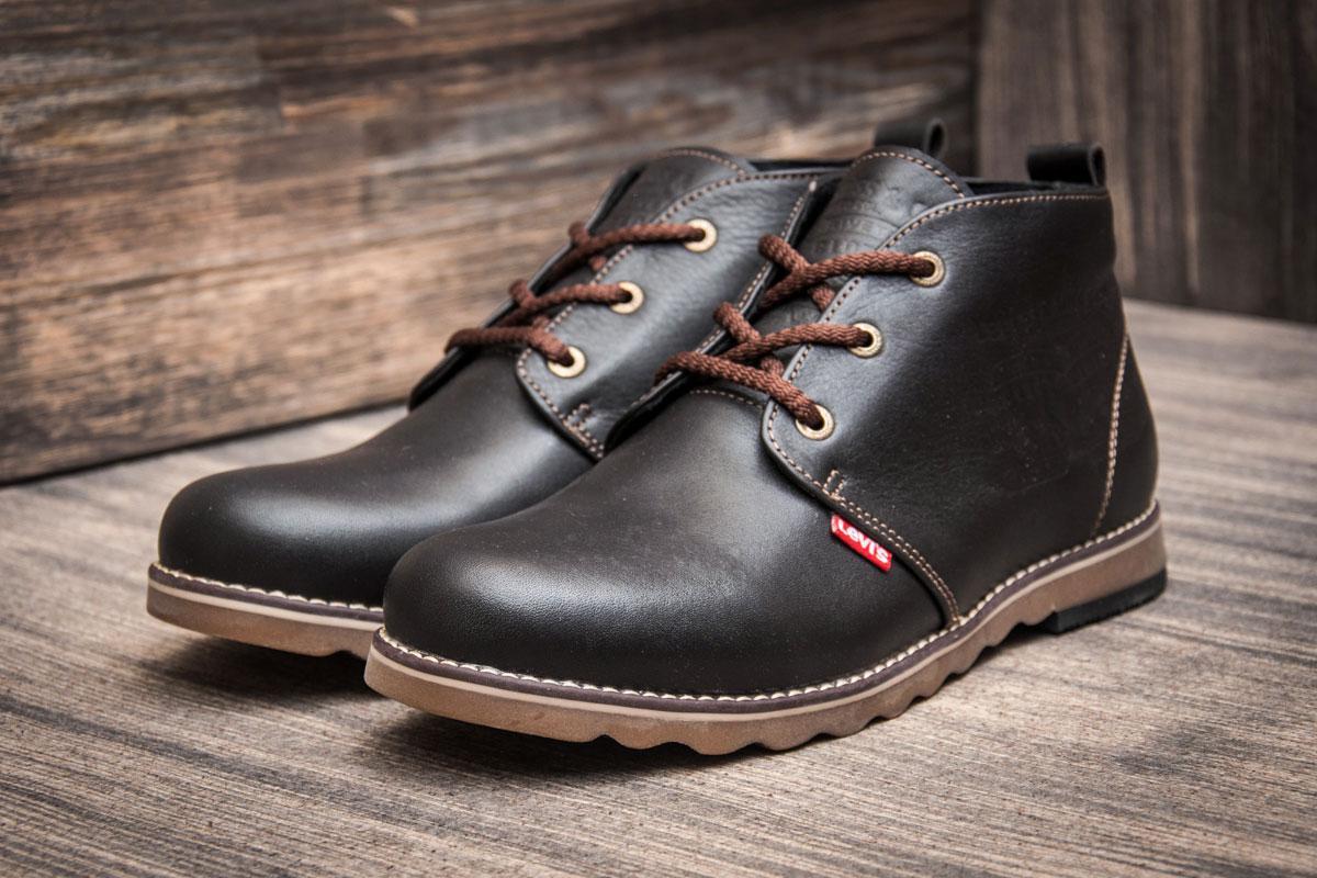 Зимние кроссовки в стиле Levi's, коричневые (3814-2),  [  45 (последняя пара)  ]