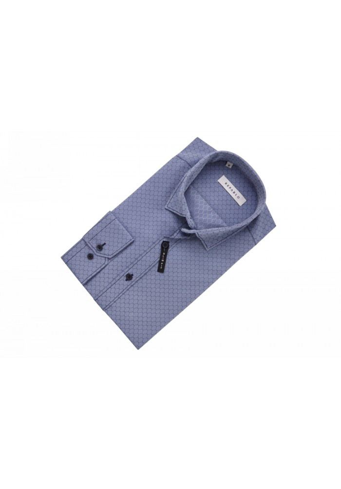 Рубашка серо-синяя с узором сот. KS 1759-1 разм. M