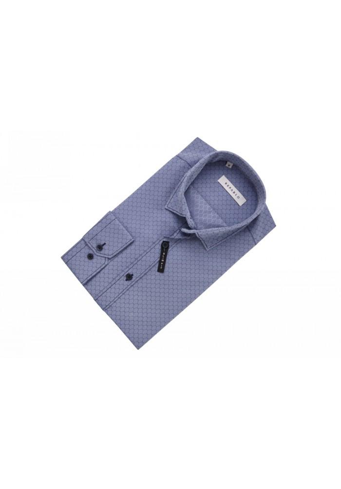 Рубашка серо-синяя с узором сот KS 1759-1 разм. L