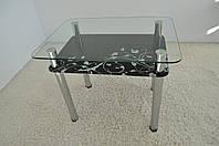 """Стол кухонный Maxi DT R 900/650 (2) """"темный блюз"""" стекло, хром, фото 1"""