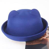 Шляпа женская фетровая котелок Кошечка с ушками синяя, фото 1