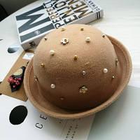Шляпа женская фетровая котелок с бусинами бежевая, фото 1
