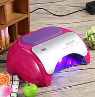 😍 Уф Лампа гибрид CCFL + LED на 48 Вт Оригинал ☝ — мощная быстрая сушка для маникюра\педикюра 48W — малиновая