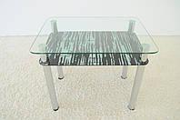 """Стол кухонный стеклянный на хромированных ножках Maxi DT R 900/650 (2) """"зебра"""" стекло, хром, фото 1"""