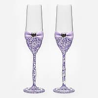 Свадебные бокалы с ручной росписью по стеклу. Сиреневый