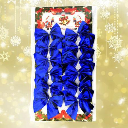 Новогодний декор Бантики уп. 12 шт. синий