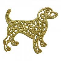 Украшение Собака Ажурная пластик 12х9 см золото