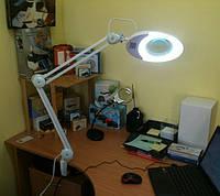Лупа-лампа 5 диоптрий 130мм косметологическая на струбцине  с ЛЕД лампой ZD-140A ЛЕД