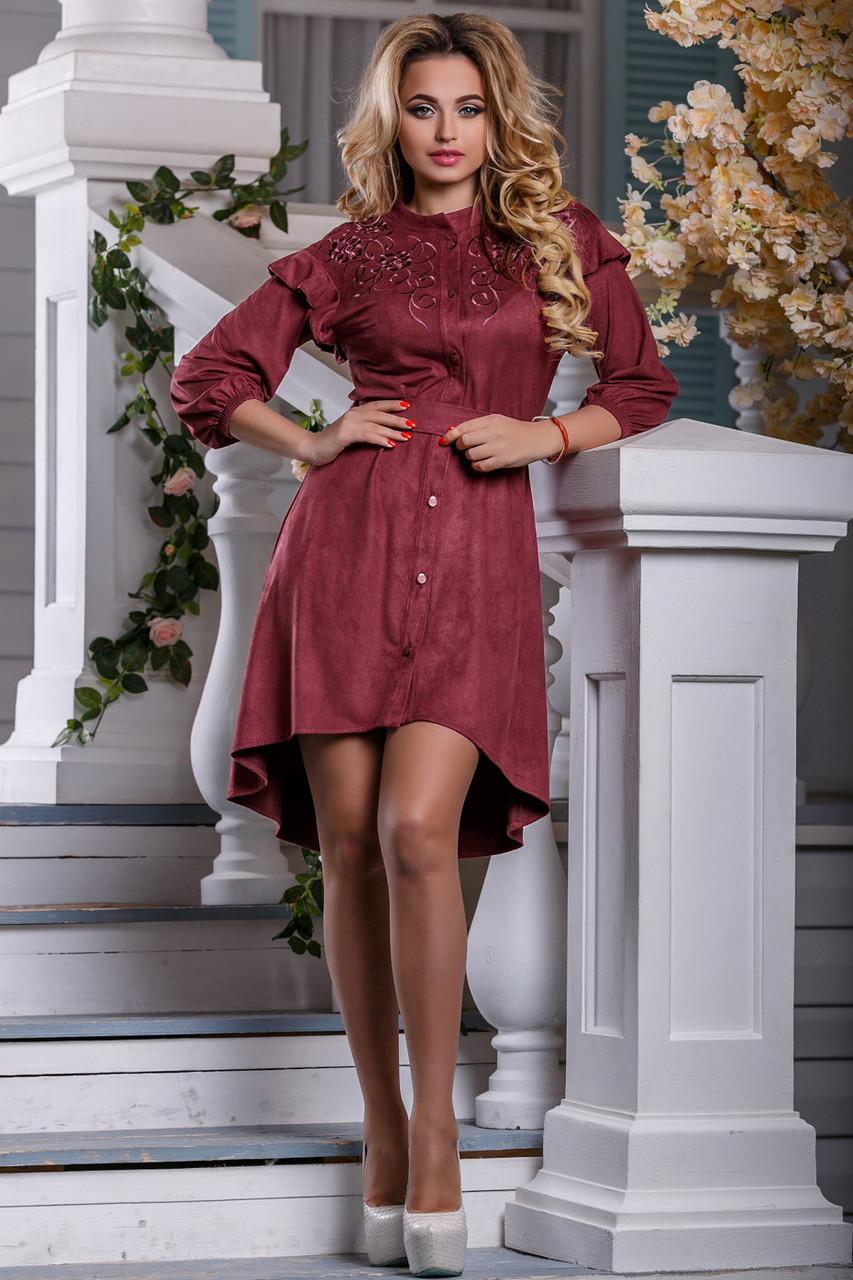 Бордовое платье асимметричное юбка клеш рукав три четверти