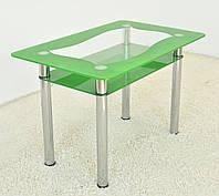 """Стол кухонный стеклянный на хромированных ножках Maxi DT R 1100/700 (2) """"зеленый оазис"""" стекло, хром"""