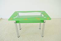 """Стол кухонный Maxi DT R 1100/700 (2) """"зеленый оазис"""" мотыльки стекло, хром, фото 1"""