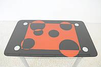 """Стол кухонный стеклянный на хромированных ножках Maxi DT R 1100/700 (2) """"квадро"""" стекло, хром, фото 1"""