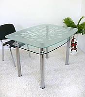 """Стол кухонный Maxi DT DX 1060/800 (2) """"цветы"""" стекло, хром, фото 1"""