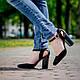 Черные женские туфли на устойчивом каблуке 9 см. Натуральная кожа, замша. Цвет любой., фото 6