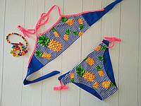 Купальник для девочки синий с принтом полоска и ананас