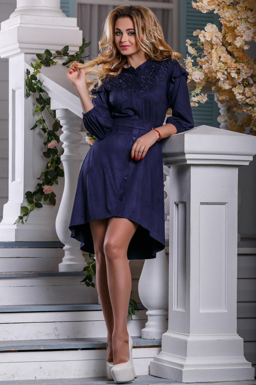 Нарядное платье разной длины на пуговицах свободное с поясом синее