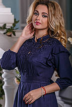 Нарядное платье разной длины на пуговицах свободное с поясом синее, фото 3