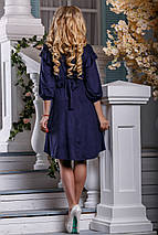 Нарядное платье разной длины на пуговицах свободное с поясом синее, фото 2
