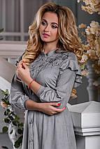 Стильное платье асимметрия юбка клеш рукав три четверти серое, фото 2