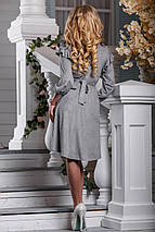 Стильное платье асимметрия юбка клеш рукав три четверти серое, фото 3