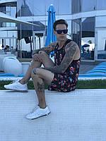 Мужские Шорты для Плавания и Майка: летний пляжный комплект (Принт: Череп с цветами)