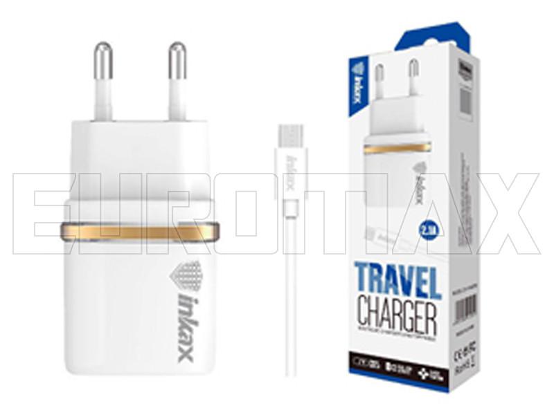 Зарядное устройство 220В 2,4А USBx2 с кабелем USB - micro USB Inkax 200шт CD-11-M-V8