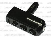 Тройник в прикуриватель 0143+ USB, фото 1