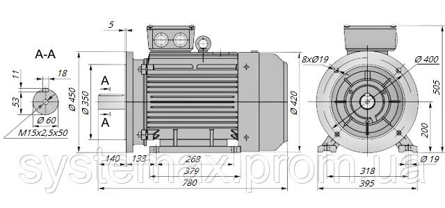 АИР200М6 / АИР 200 М6 / IM 2081 / IM2081 / комб / комбинированный / фланцевый / 22 кВт / 1000 об/мин