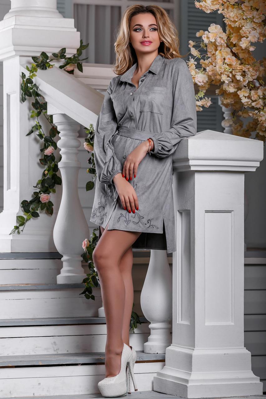 Нарядное платье асимметрия длинный рукав под пояс воротник серое