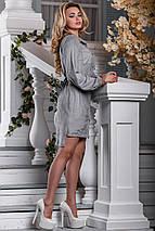 Нарядное платье асимметрия длинный рукав под пояс воротник серое, фото 3