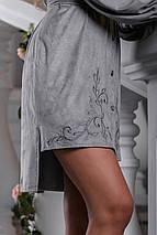 Нарядное платье асимметрия длинный рукав под пояс воротник серое, фото 2